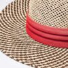 6049 Two-Tone Straw Hat - red - one-size